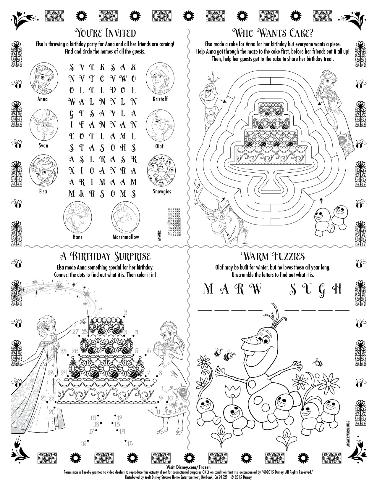 Frozen coloring pages and activities - See More Frozen Fever Coloring