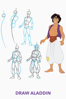 Aladdin Printable - Draw Aladdin