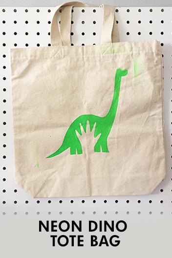 Neon Dino Tote Bag