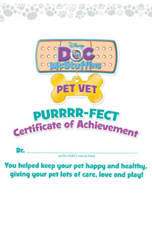 Pet Vet Certificate of Achievement