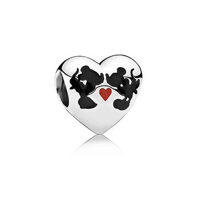 Mickey & Minnie Kiss Heart Charm
