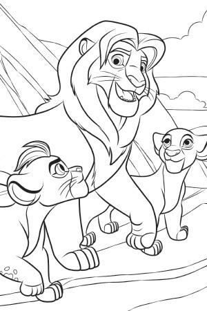 Simba, Kiara and Kion Colouring Sheet