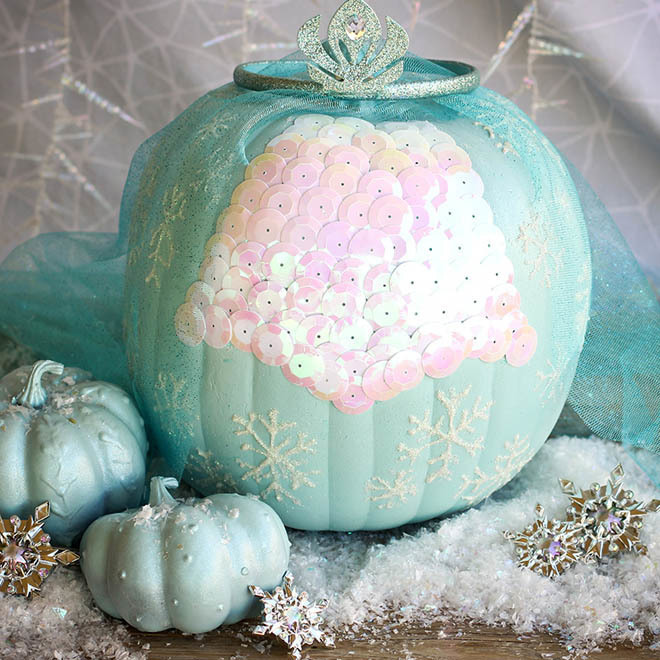 Frozen Inspired Pumpkin Painting