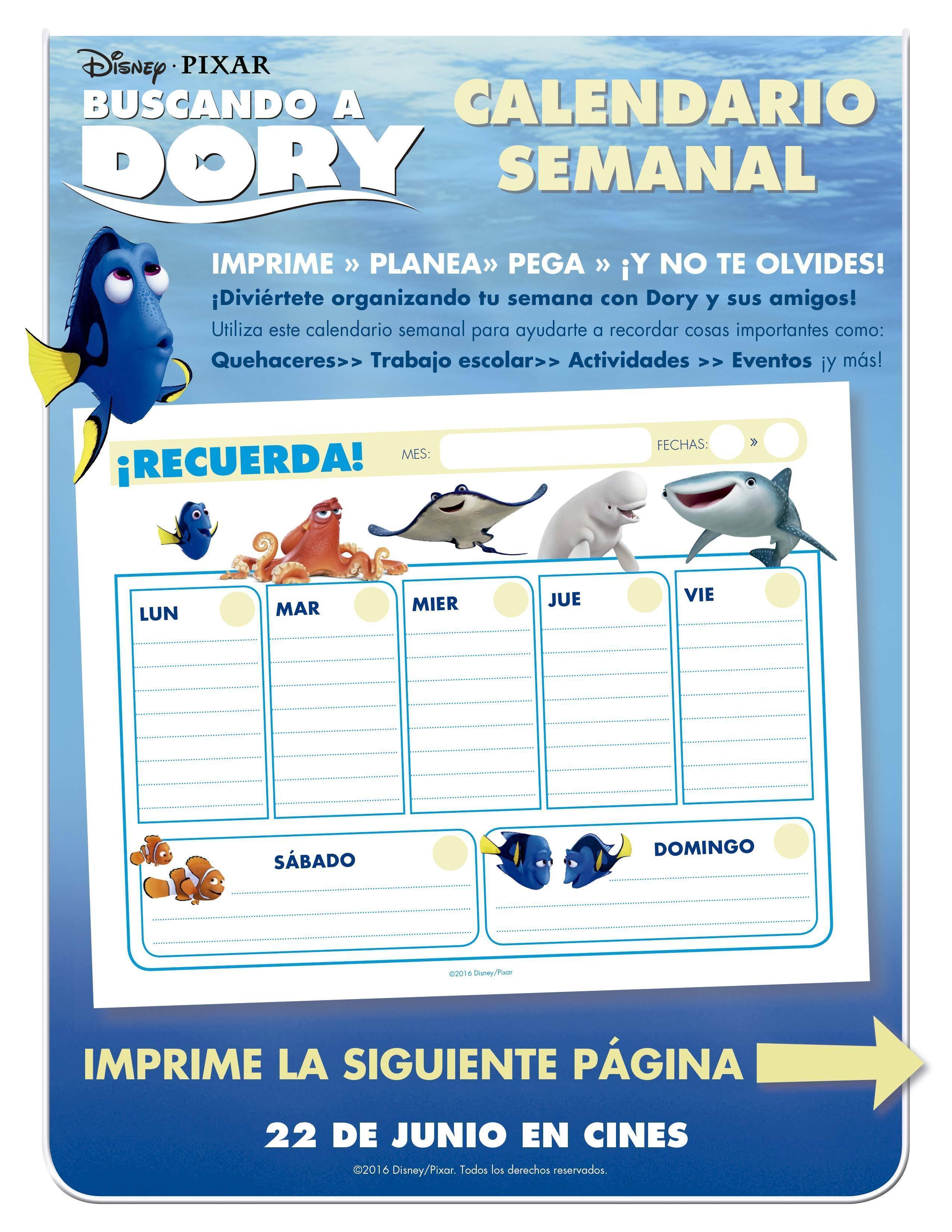 Buscando a Dory - Calendario Semanal