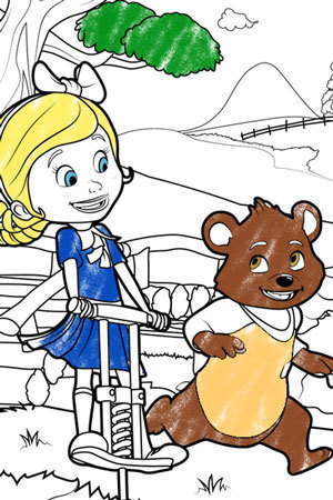 Goldie and Bear Skipping Along Colouring page