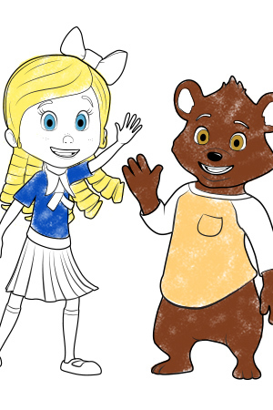 Goldie and Bear Colouring page