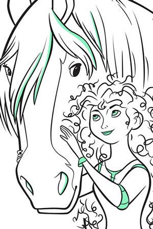 Σελίδα για χρωμάτισμα της Μέριντα και του Άνγκους