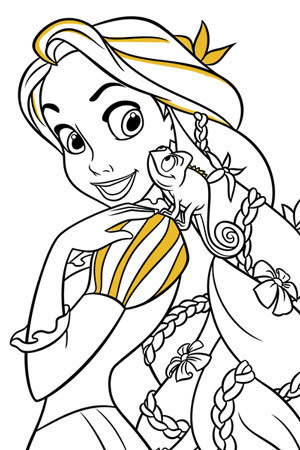 Rapunzel and Pascal Colouring Page