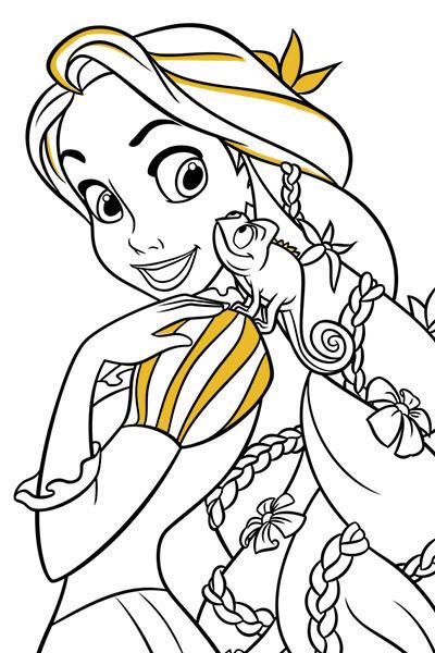 Lámina para colorear de Rapunzel y Pascal  Actividades ...