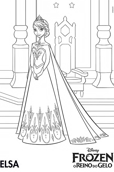 Página para pintar da Elsa