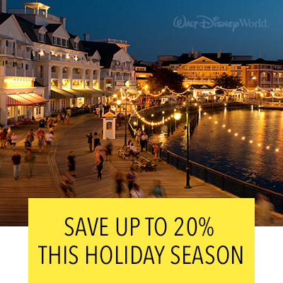 Save up to 20%!  Celebrate the holidays and save on rooms at select Disney Resort hotels!