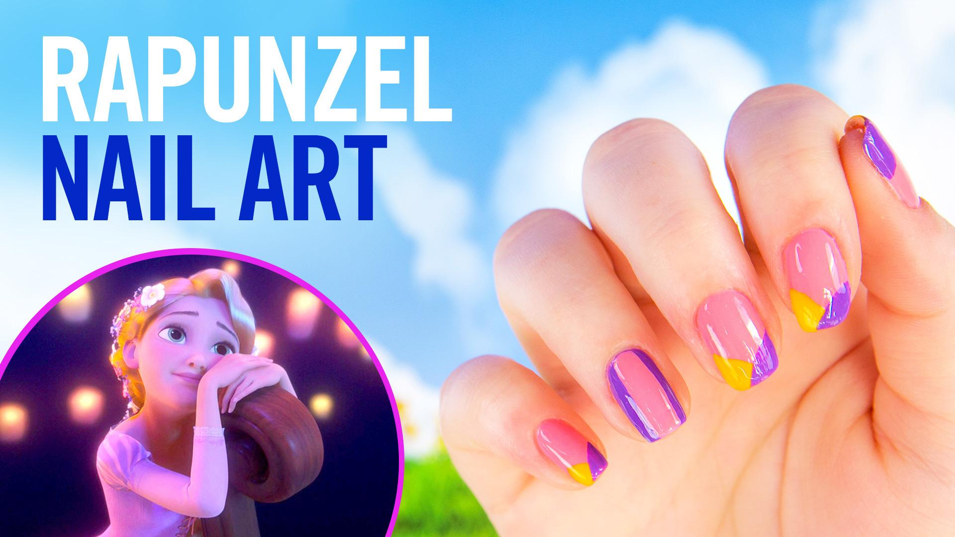 Disney's Rapunzel Colorblock Nail Art Tutorial