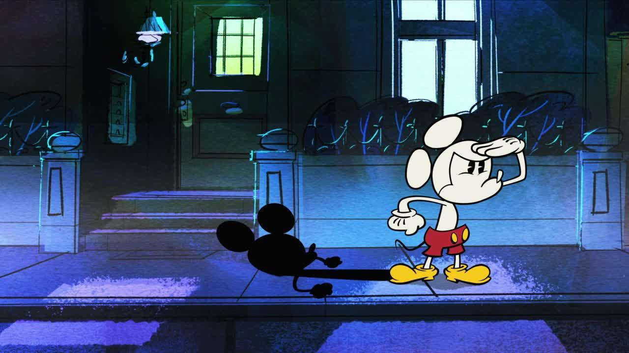 Miki w szortach - Czarno-biały Miki