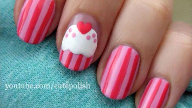 Sweet Pink Cupcake Nails