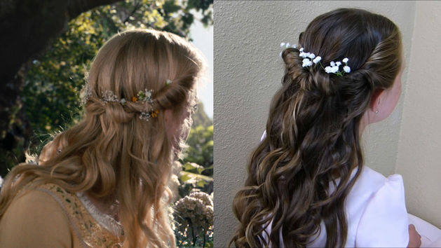 Aurora's Tie Back Twist With Flowers - A Princess Hairstyles Disney Exclusive