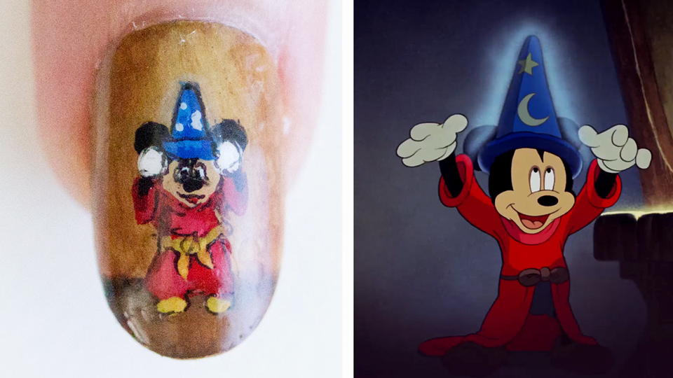Sorcerer Mickey Nail Art Animation - Disney Style