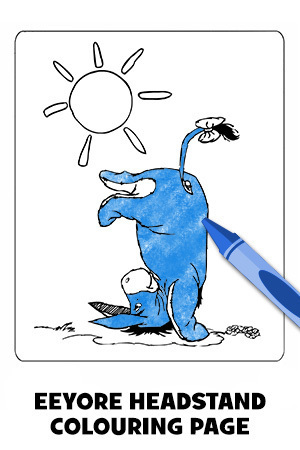 Eeyore Headstand Colouring Page