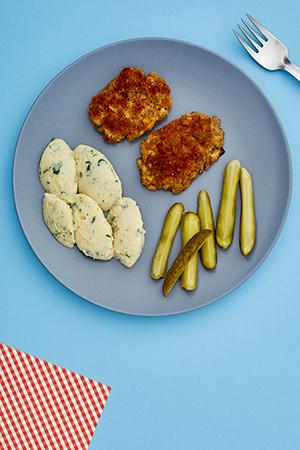 Kotlety jajeczne i purée z kalafiora i kaszy jaglanej