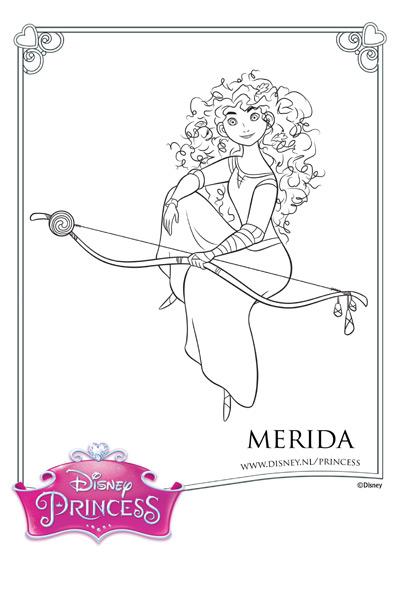 Kleurplaat Merida en haar boog