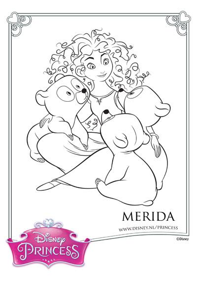Kleurplaat Merida en haar broertjes