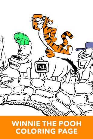 Coloring Page - Winnie the Pooh - Bridge