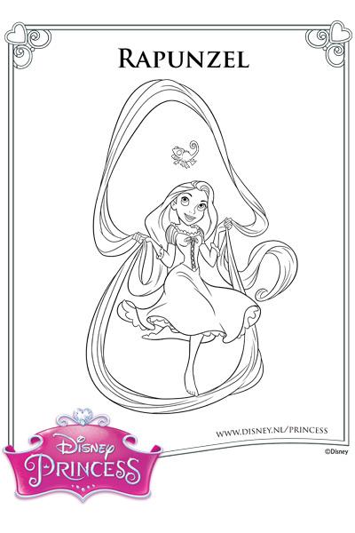 Kleurplaat Rapunzel en Pascal