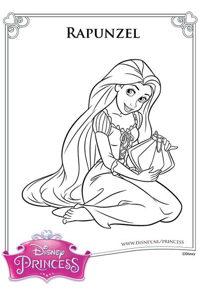 Kleurplaat Rapunzel en haar lantaarn
