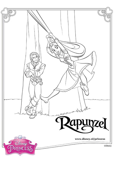 Kleurplaat Rapunzel en Flynn