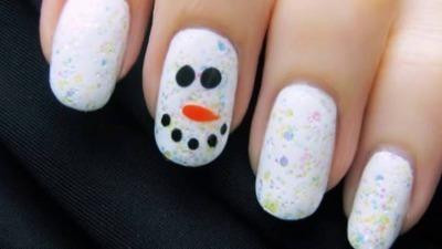 Magical Snow Man Nail Art