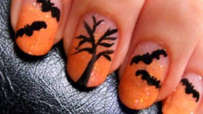 Spooky Halloween Bat Nail Art