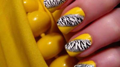 Bright Yellow Zebra Nails