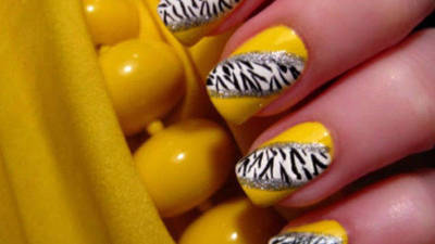 Bright Yellow Zebra Nails
