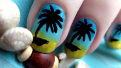 Paradise Palm Tree Nail Art