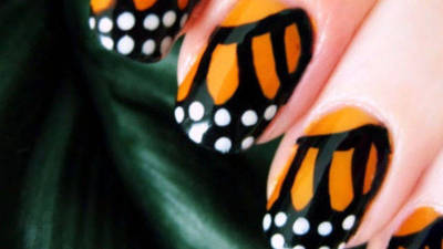 Pretty Monarch Butterfly Nail Art