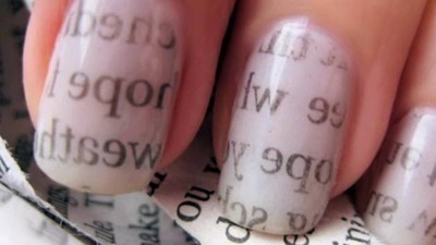 Chic Newspaper Nail Art