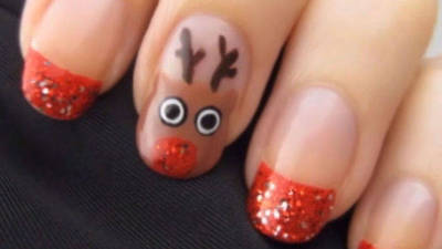 Holiday Reindeer Nail Art