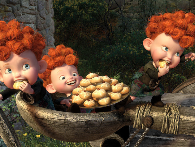 When they're not causing trouble, the triplets can often be found gorging themselves on sweets.