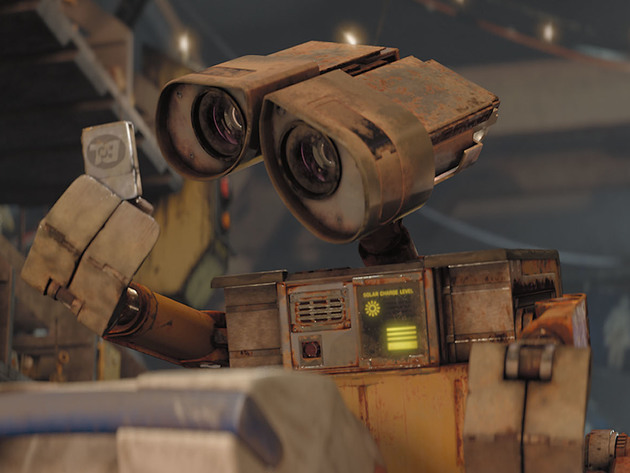 WALL•E tries to understand what the world was like long ago.