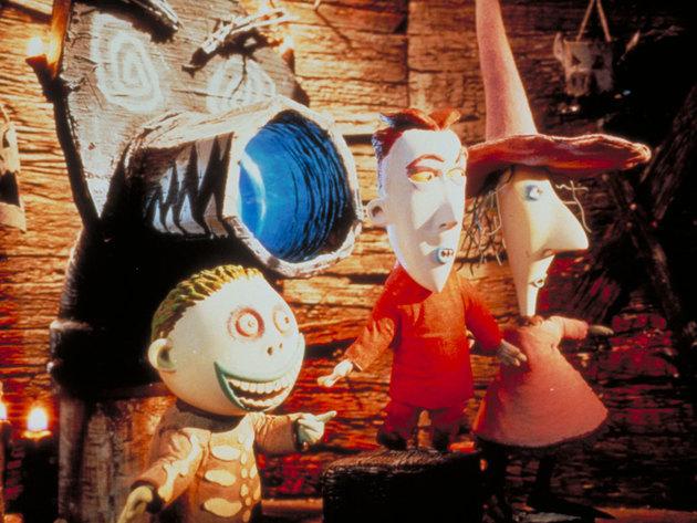 Lock, Shock, and Barrel bring Santa back to Oogie's lair.