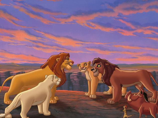 Simba and Nala, Kiara and Kobu, and Timon and Pumbaa all come together on Pride Rock.