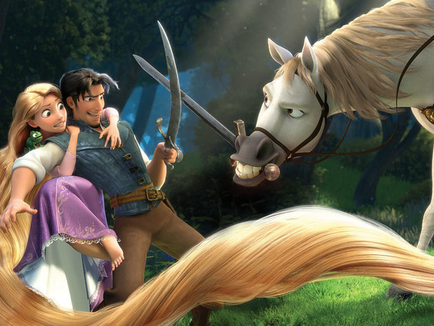 Rapunzel and Flynn Rider come up against Maximus... the horse with a weakness for apples.