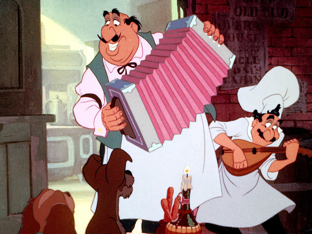 At Tony's, Lady and Tramp's meal comes complete with music.