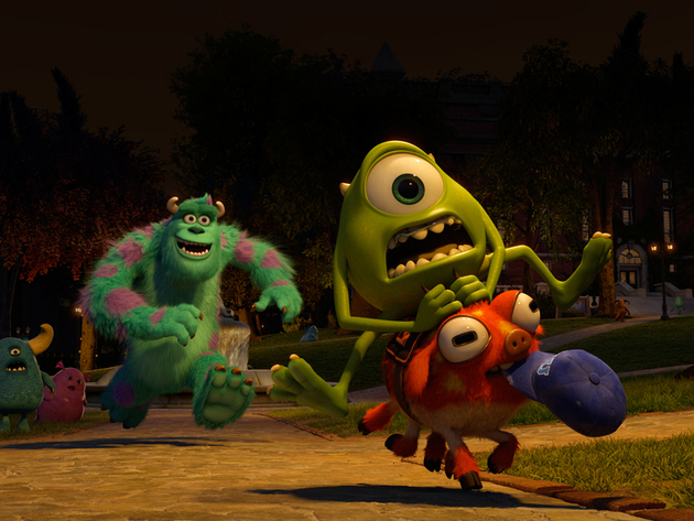 Mike goes on a crazy ride as Sulley gives chase from close behind.