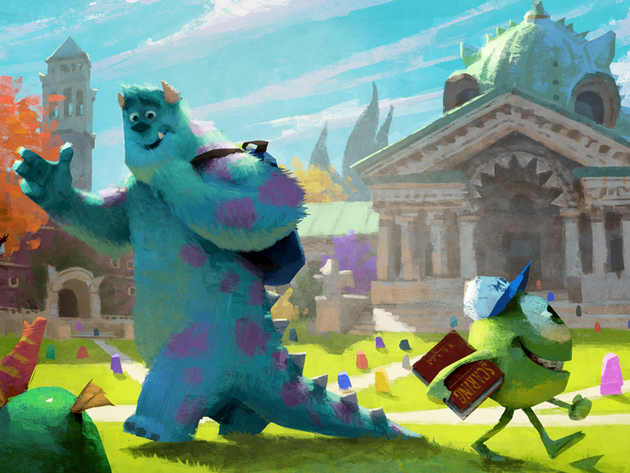 Mike and Sulley take a walk through the MU quad.