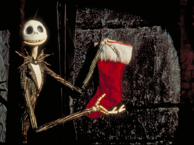 An oversized sock, filled with presents, not a foot or gook.