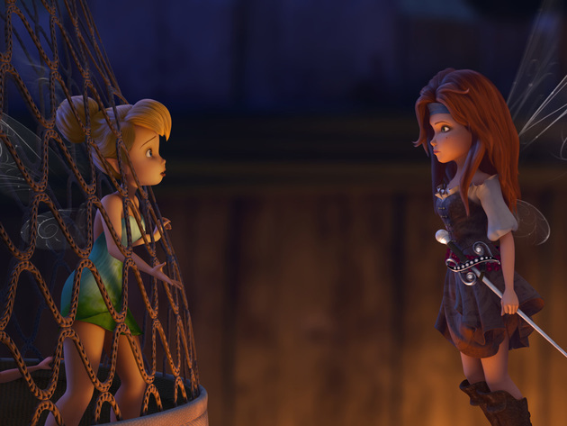 Zarina and Tinker Bell meet face-to-face on the pirate ship.