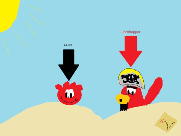 Polly4423 - ¡El Capitán Rockhopper con Yarr y un puffle elefante!