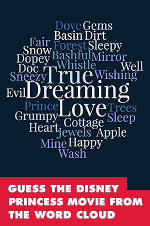 QUIZ: CAN YOU GUESS THE DISNEY PRINCESS MOVIE FROM THE WORD CLOUD?