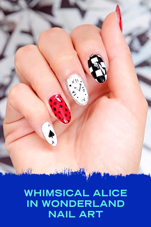 WHIMSICAL ALICE IN WONDERLAND NAIL ART