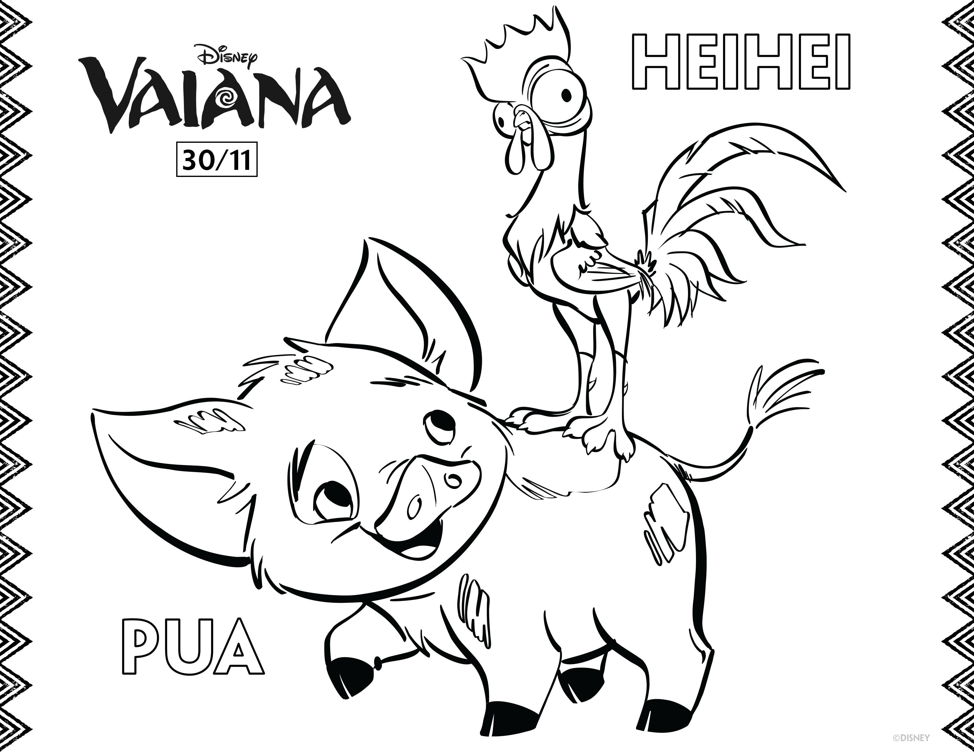 Kleurplaat Pua en HeiHei